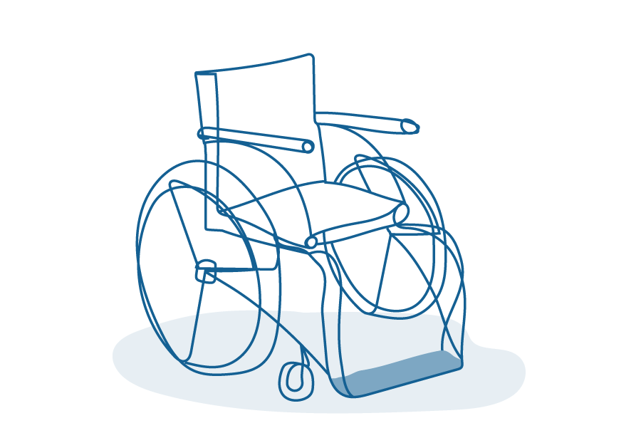 An illustration of a wheelchair.