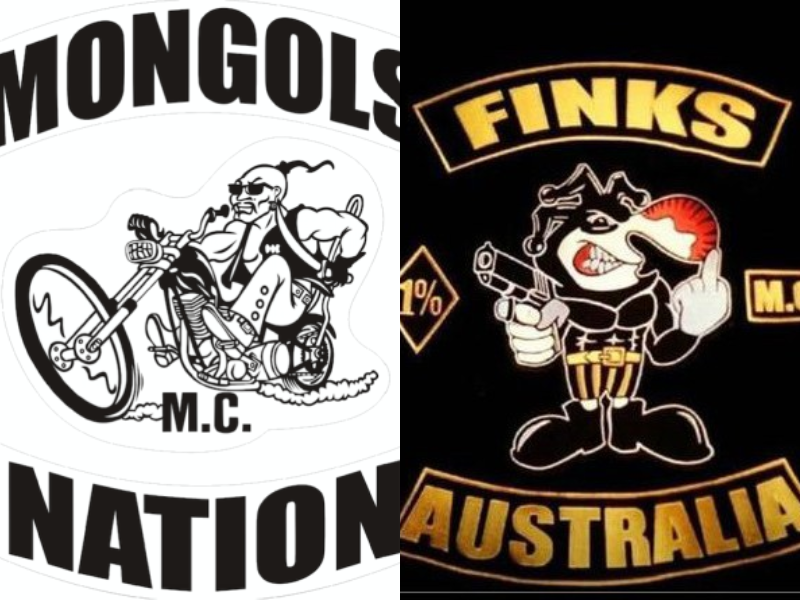 Queensland Finks and Mongols bikie patches.