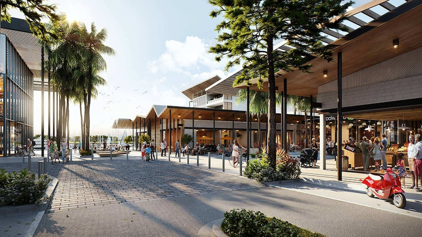 A visualisation of stage one of the Shell Cove retail precinct leading into the new boat harbour.