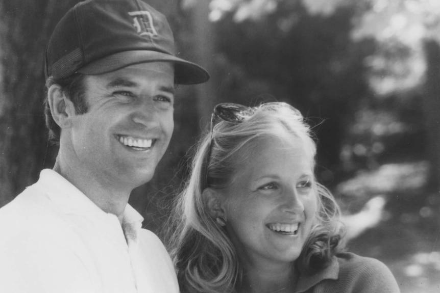 A black and white photo of Joe Biden and Jill Biden in the thirties