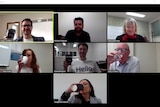 people having a coffee together via video conferencing