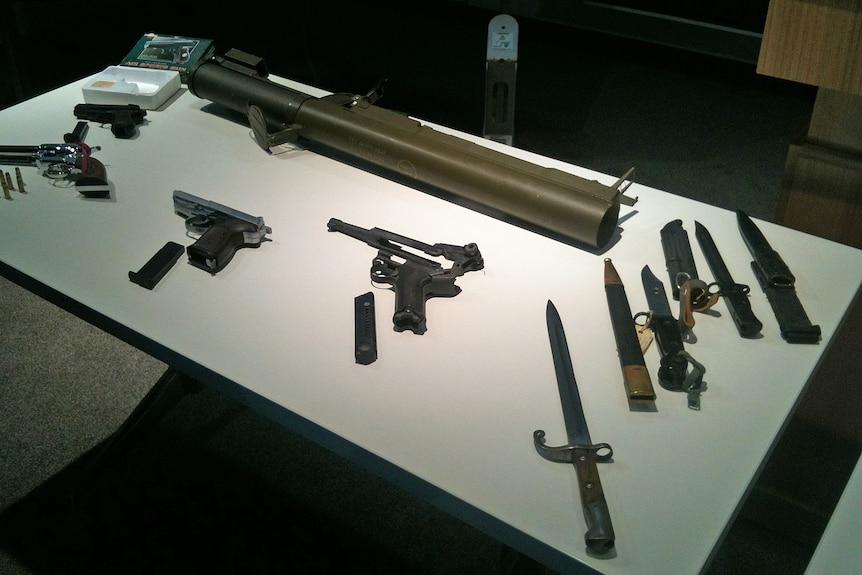 Police display guns and knives