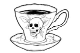 A picture of a cup with a skull drawn on it.