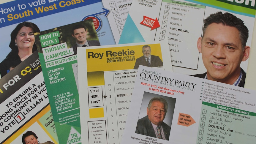 How to vote cards for the Victorian state seat of South West Coast on October 29, 2015.