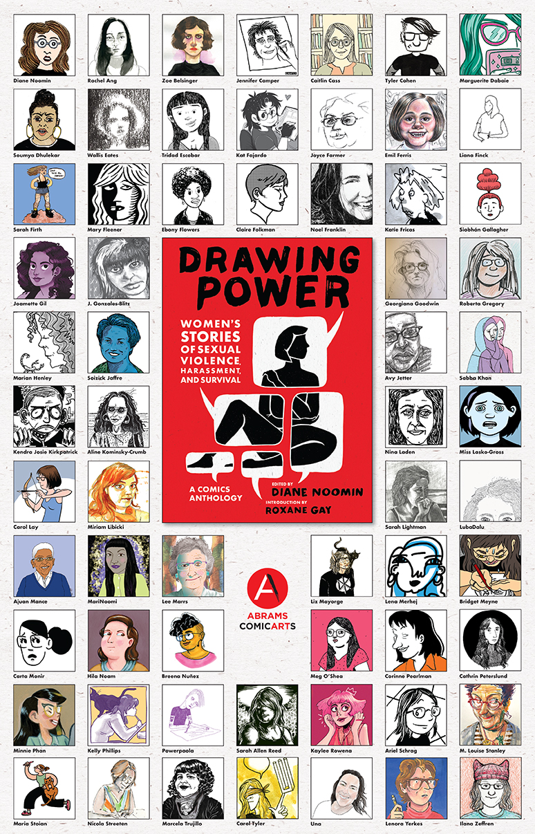 Drawing Power comics anthology red book cover at centre of a grid of author illustrations on an off white poster.