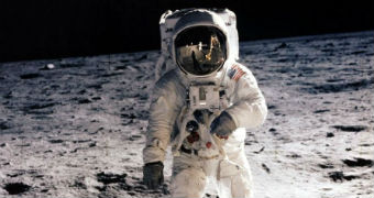 Edwin E 'Buzz' Aldrin Jr, lunar module pilot, walks on the surface of the moon.