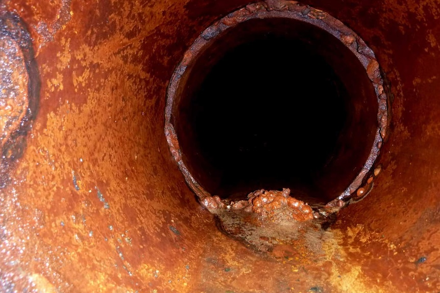 A corroded water pipe at QEII Medical centre in Perth.