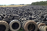 Thousands of tyres in a massive pile