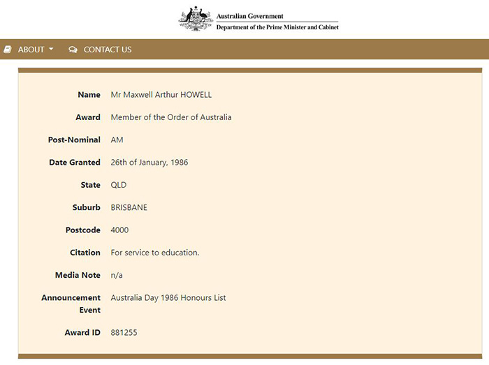 Screen shot of Australian Honours entry - Maxwell Arthur Howell, OAM for service to education in 1986