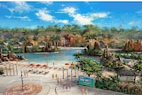 An illustration of a lagoon pool and waterfalls.
