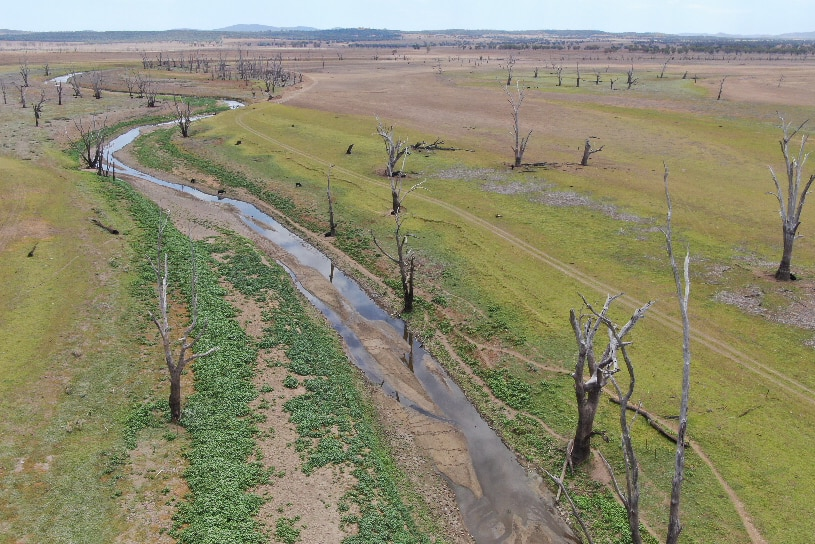 AN aerial shot of the Namoi River near Manilla barely running.