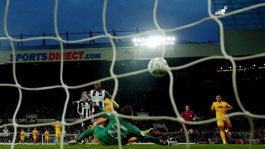 Newcastle United's Christian Atsu scores a goal against Preston North End on April 24, 2017.