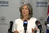 SA Chief Public Health Officer, Professor Nicola Spurrier, addresses the media.