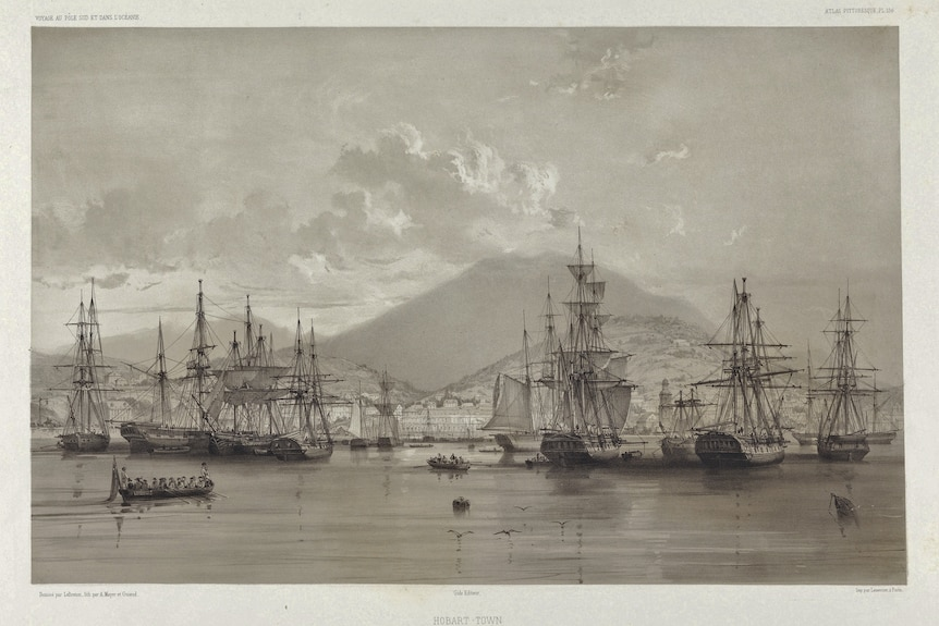 Lithograph of 1846 Hobart with ships in harbour.