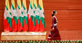 Aung San Suu Kyi in her first address to the nation.