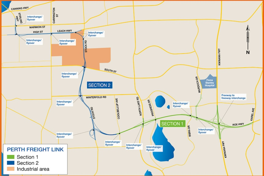 A map shows the original proposals for stages one and two of the planned Perth Freight Link.
