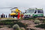 A helicopter and an ambulance at Prevelly
