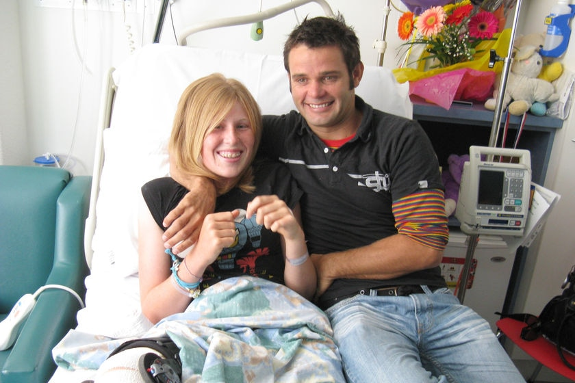 Syb Mundy with his cousin Hannah Mighall in hospital last year.