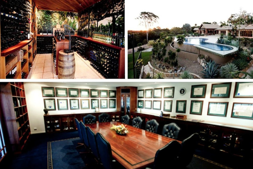 Composite graphic of three images of a luxurious venue, including a wine cellar, outdoor swimming pool and boardroom