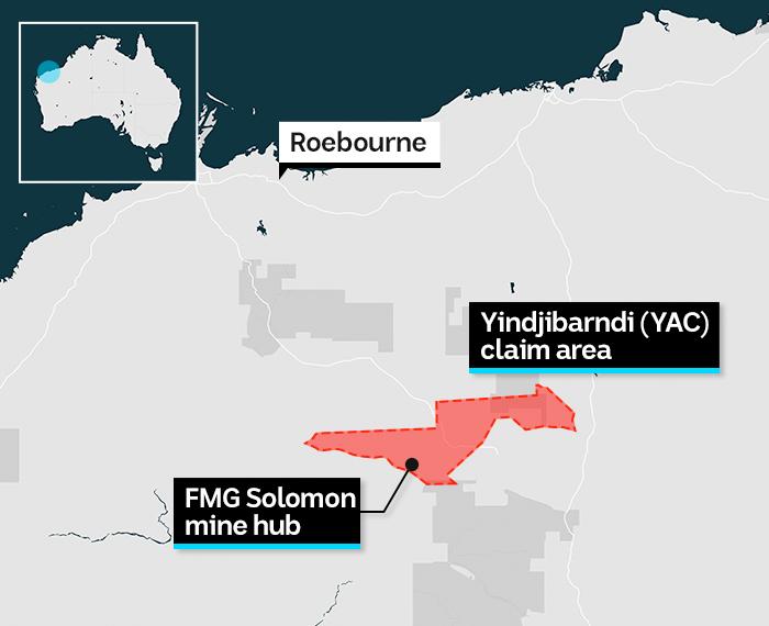 A map of the YAC claim area in Western Australia Pilbara region.