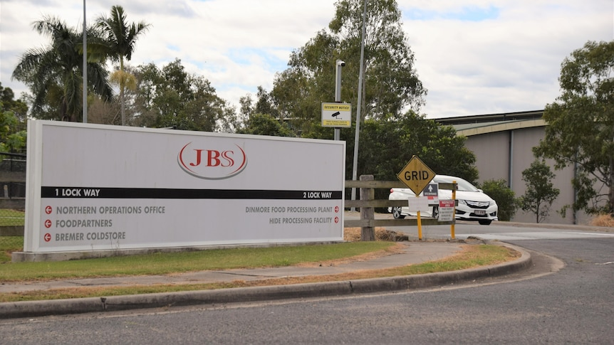 The roadside signage of a meatworks facility.