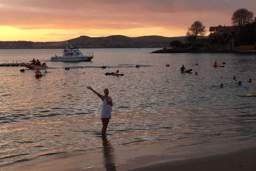 Solo nude swimmer finishes up her 2017 Dark Mofo solstice event