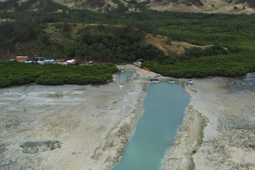 A channel was dug into the reef on the shore of Malolo island, where the Freesoul resort is located.