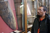 Rodney Kelly viewing the shield at the British Museum
