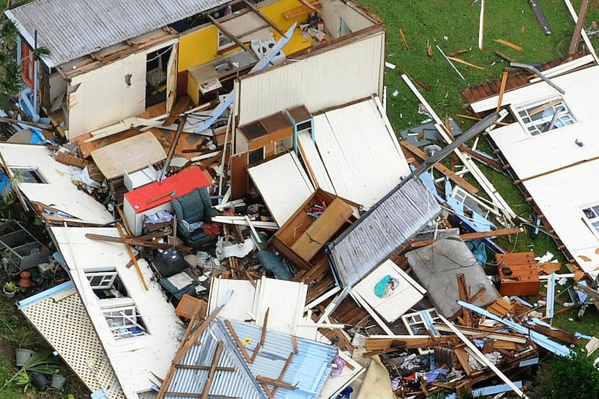 A house, completely destroyed, with debris lying everywhere in Tully after Cyclone Yasi hit on February 3, 2011.