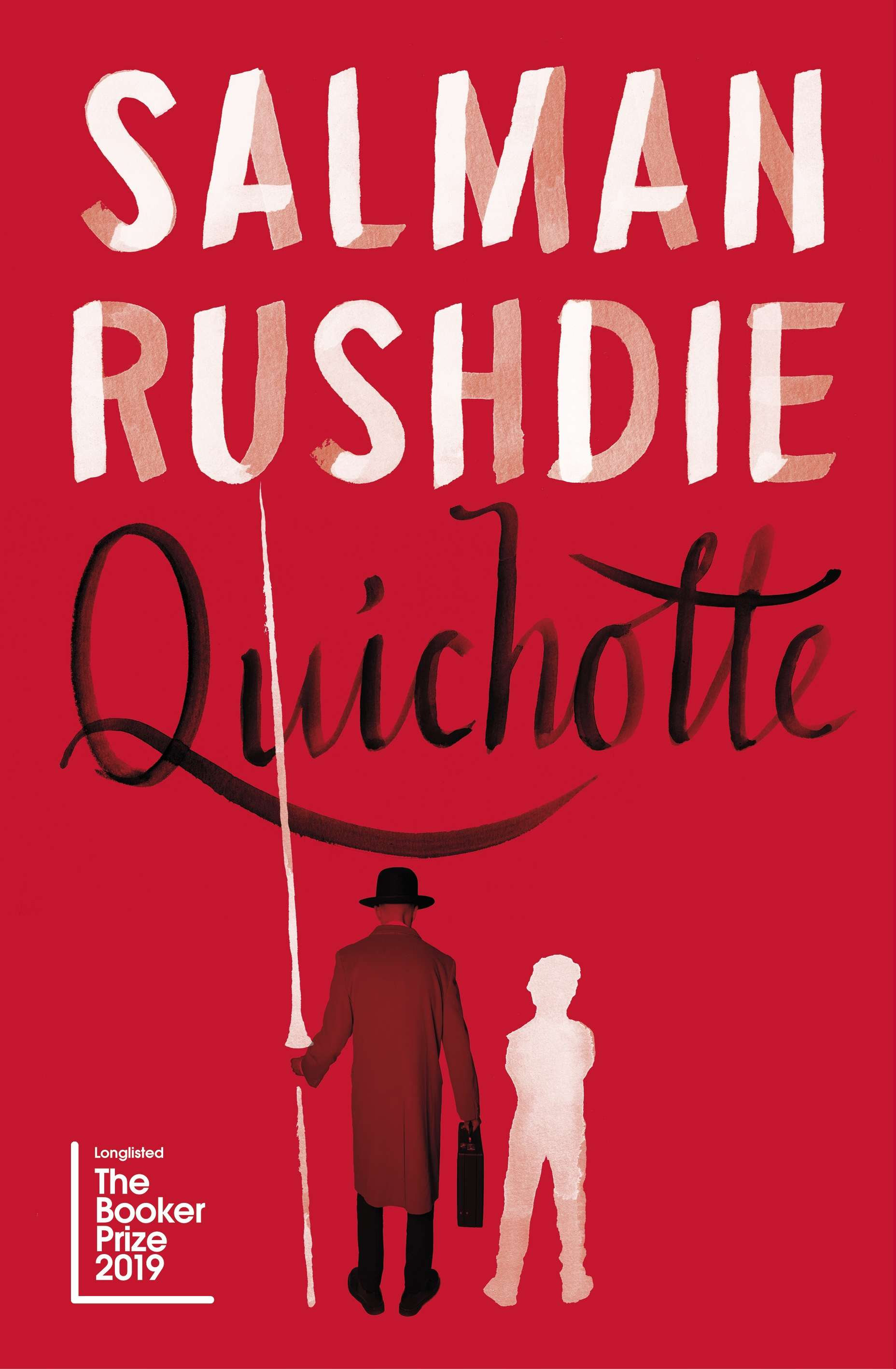 Quichotte by Salman Rushdie book cover featuring a man in a bowler hat and long coat and the outline of a child
