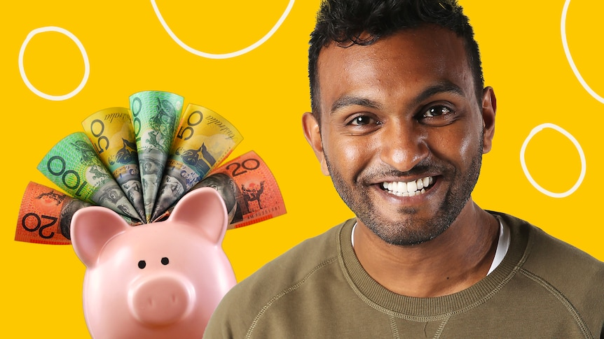 A portrait of Nazeem Hussain next to a piggy bank filling with bank notes, in a story about saving money.
