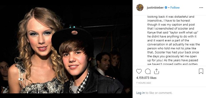 A young Justin Bieber and Taylor Swift posing in an Instagram post from Bieber. The caption is about Swift's bullying claim.