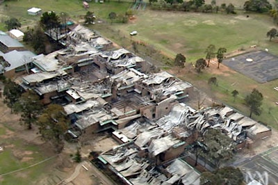 The remains of Kelso High School after an electrical fire which burnt for four hours.