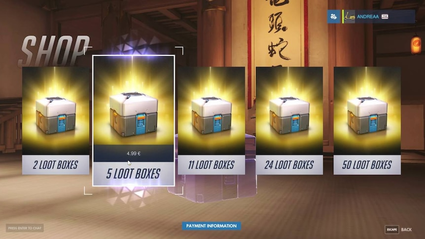 A screen showing loot boxes for sale in the game Overwatch.