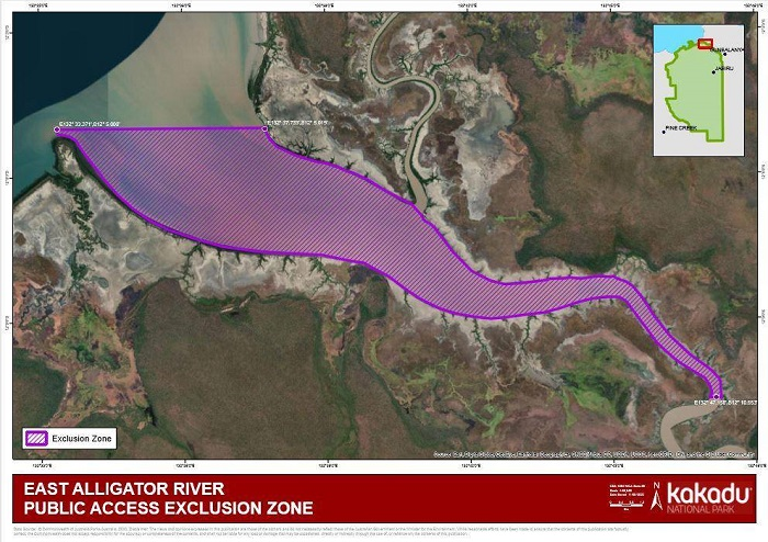 An aerial view of a river system showing an exclusion zone marked in purple.