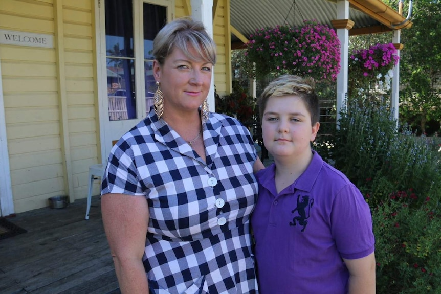 Rochelle Caloon says her son Dodge who is in Grade 5 at Silkstone State School in Ipswich struggles to concentrate in the heat.