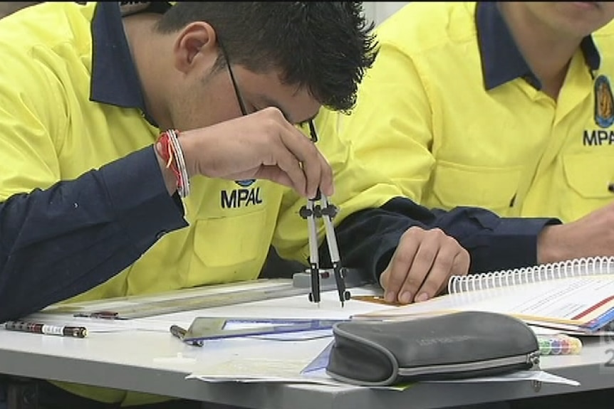 Vocational training students, tradies