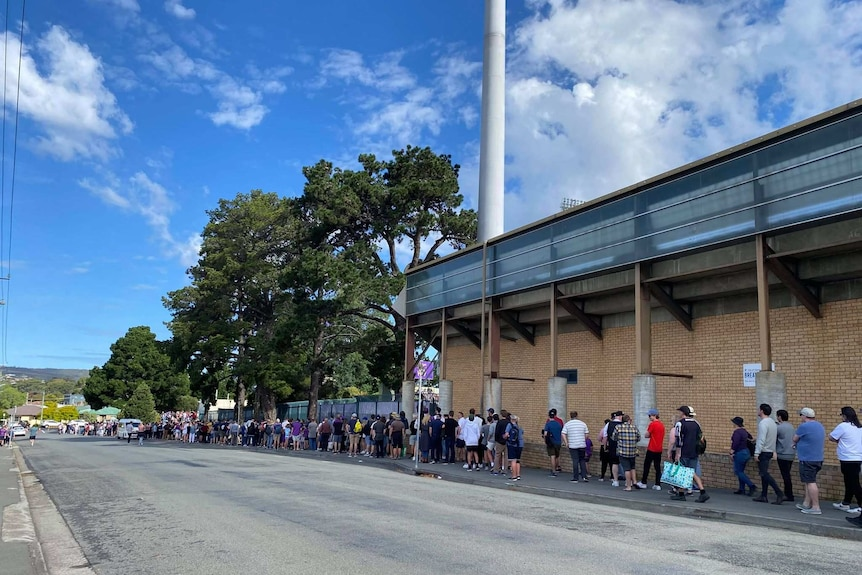 Queue outside sporting ground