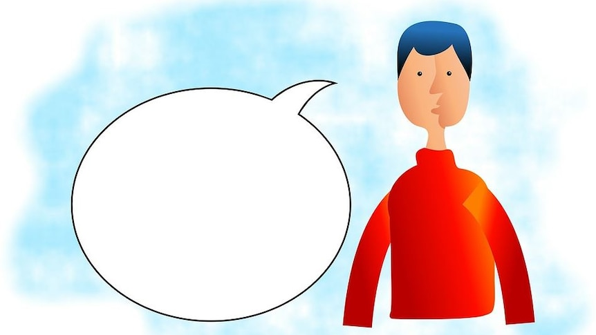 Drawing of a male speaker with a blank speech bubble