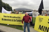 Anti-mining protesters outside a minerals conference in Hobart.