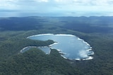 Aerial photo of Lake McKenzie on Fraser Island off south-east Queensland in April 2017.