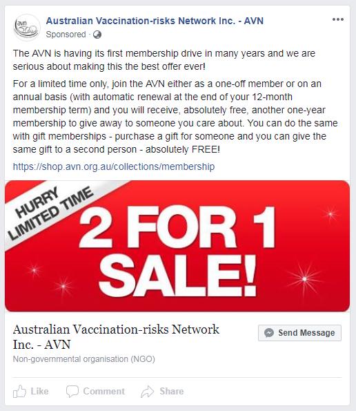 A Facebook ad from the Australian Vaccination-risks Network describing a membership drive.