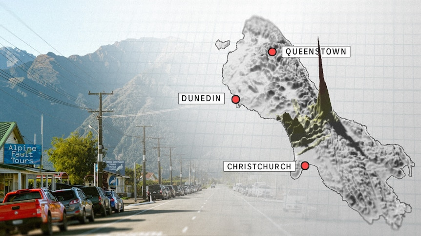 A shot of the high street of Whataroa has a graphic of the South Island laid over the top.