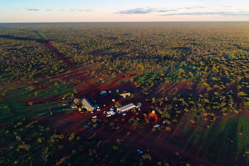 An aerial photograph of a homestead on a pastoral station.