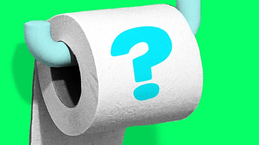 Illustration of toilet paper roll with a large blue question mark for a story about should you pee 'just in case'