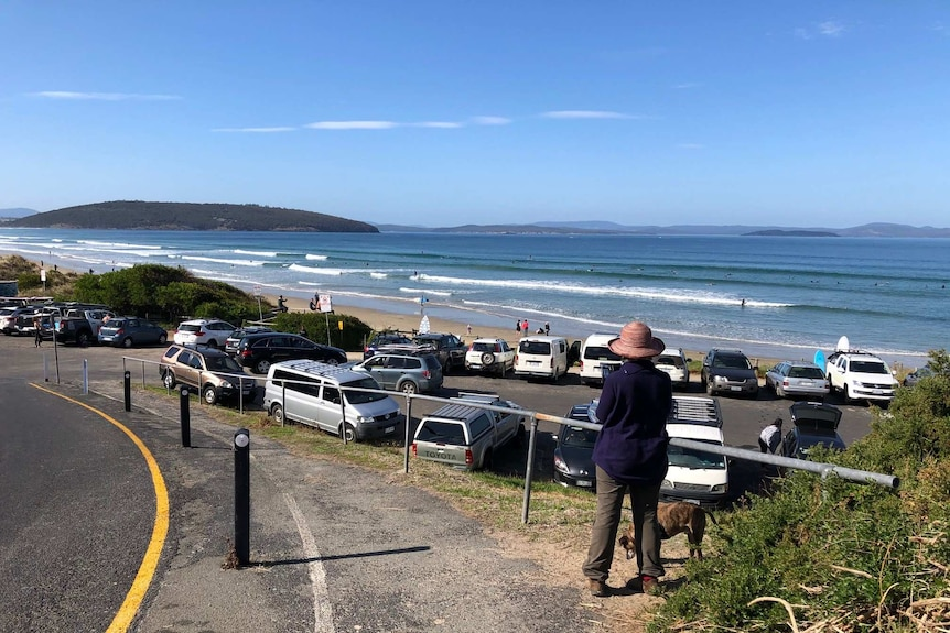 A beach-side carpark full of vehicles on a sunny day.