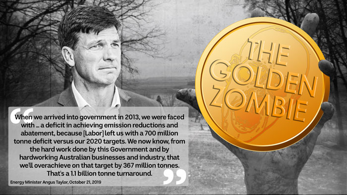 """Angus Taylor on a spooky movie background with a quote. A hand holding a gold pendant labelled """"The Golden Zombie"""" to his right."""