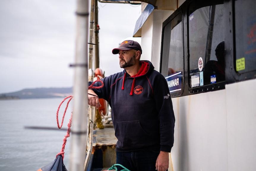 Michael Blake on the boat