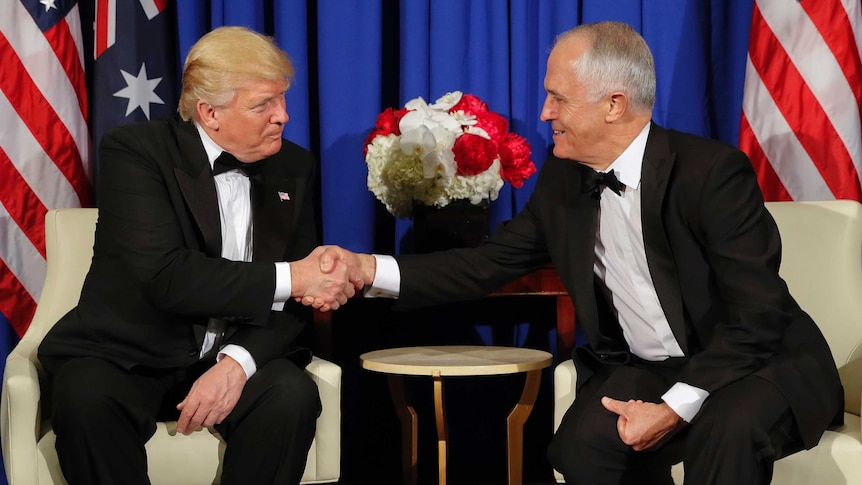 Mr Trump says negative phone call with Mr Turnbull 'fake news' in New York meeting