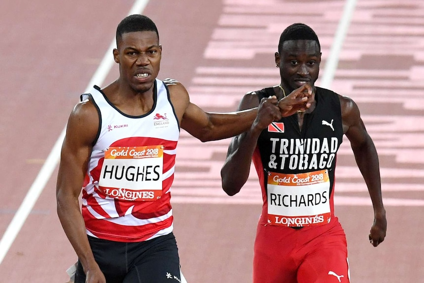 Zharnel Hughes of England and Jareem Ruichards of Trinidad and Tobago during the Men's 200m Final.